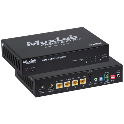MuxLab UHD HDMI over HDBaseT 1X4 Splitter with HDCP (UK Region)