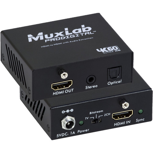MuxLab 4K/60 HDMI to HDMI Extender with Audio Extraction