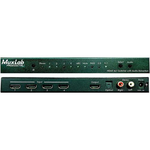MuxLab 4x1 4K/60 HDMI Switcher with Audio Extraction