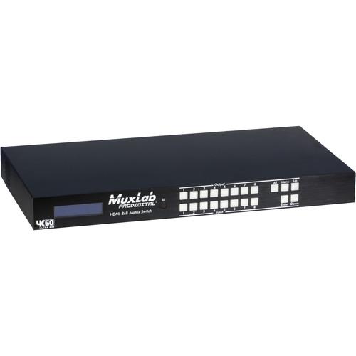 MuxLab HDMI 8 x 8 Matrix 4K/60 Switcher with UK Power Cord
