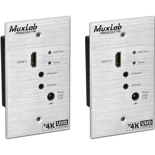 MuxLab HDMI 4K over Cat5e/6 HDBT Wall Plate Extender Kit (US Version)