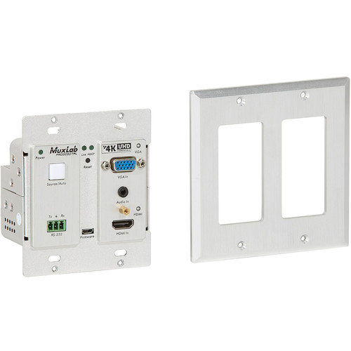 MuxLab HDMI VGA/Audio over CAT5e/6 UHD-4K Wall-Plate Transmitter