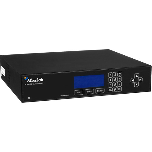 MuxLab HDMI 8x8 Matrix Switch HDBaseT & PoE (US Power Cord)