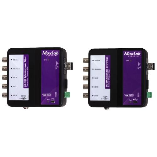 MuxLab 6G-SDI Extender over Fiber Optic with Return Channel (Up to 49.7 mi)