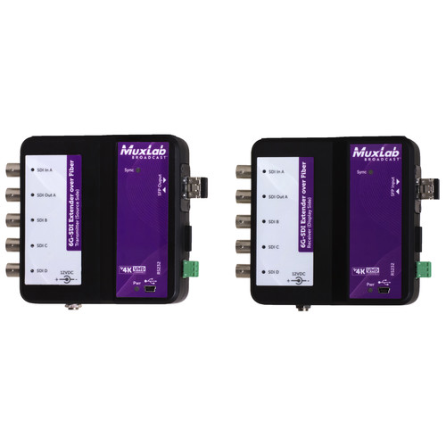 MuxLab 6G-SDI Extender over Fiber Optic with Return Channel (Up to 49.7 mi)