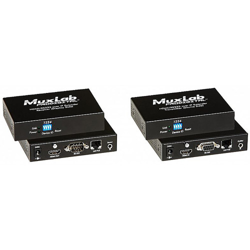 MuxLab HDMI/RS232 over IP Extender Kit with PoE