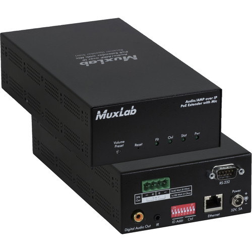 MuxLab Audio over IP Extender Receiver with 2-Ch 50W Amplifier (UK Plug)