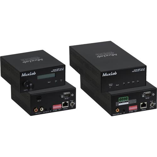 MuxLab Audio over IP Extender Kit with 2-Ch 50W Amp & Mic Input (UK Plug)