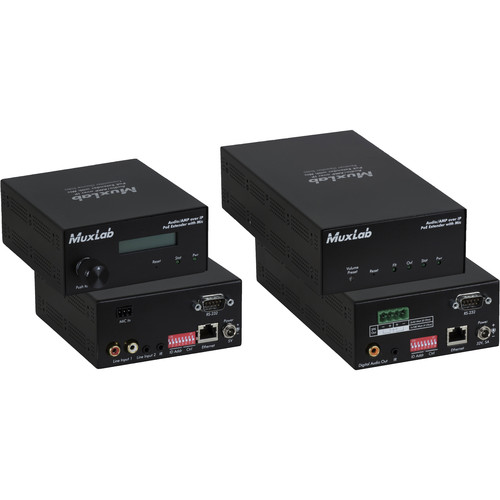 MuxLab Audio over IP Extender Kit with 2-Ch 50W Amp & Mic Input (UK Plug)
