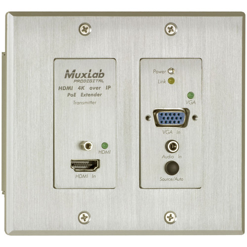 MuxLab HDMI/VGA over IP 4K PoE Wall Plate Transmitter