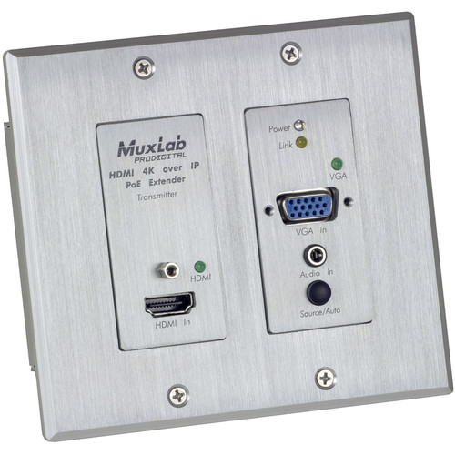 MuxLab HDMI/VGA Over IP PoE Wall Plate Transmitter for Select Receivers (White)