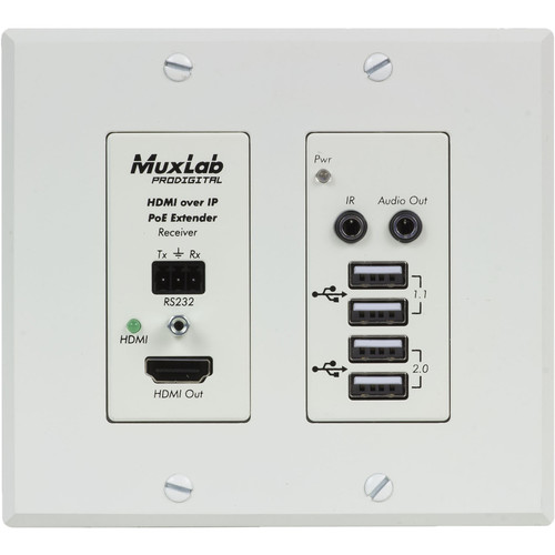 MuxLab UHD-4K HDMI/USB over IP PoE Wall Plate Receiver (White)