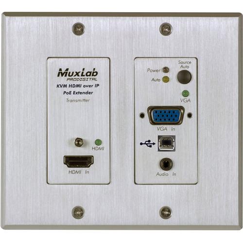MuxLab UHD-4K HDMI/VGA/USB over IP PoE WP Transmitter (White)