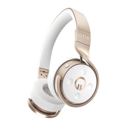 Muzik One Wireless Bluetooth Headphones (Champagne/White)