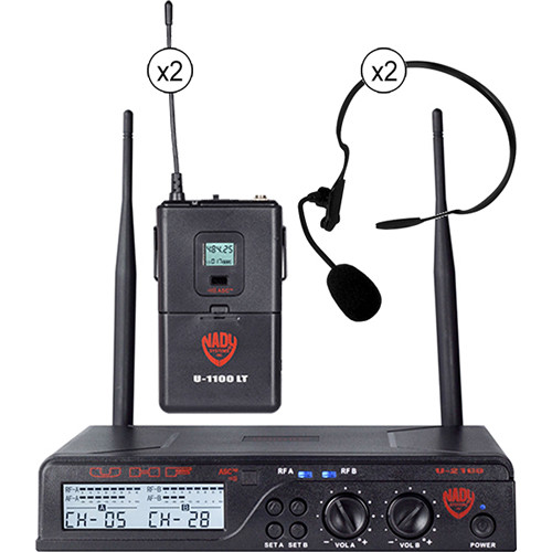 Nady U-2100/HM-3 UHF Omnidirectional Condenser Wireless System with 2 x HM-3 Headworn Microphones