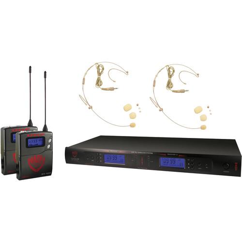 Nady 2W-1KU Dual UHF Wireless Receiver System with Two HM-10 Head-Worn Microphones (Beige)