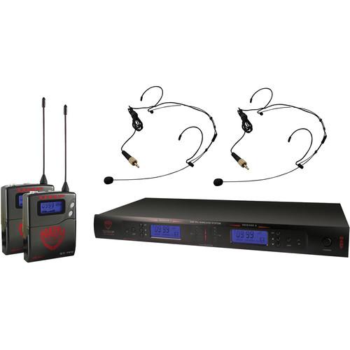 Nady 2W-1KU Dual UHF Wireless Receiver System with Two HM-10 Head-Worn Microphones (Black)