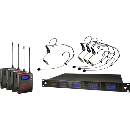 Nady 4W-1KU Quad UHF Wireless Receiver System with Four HM-10 Head-Worn Microphones (Black)