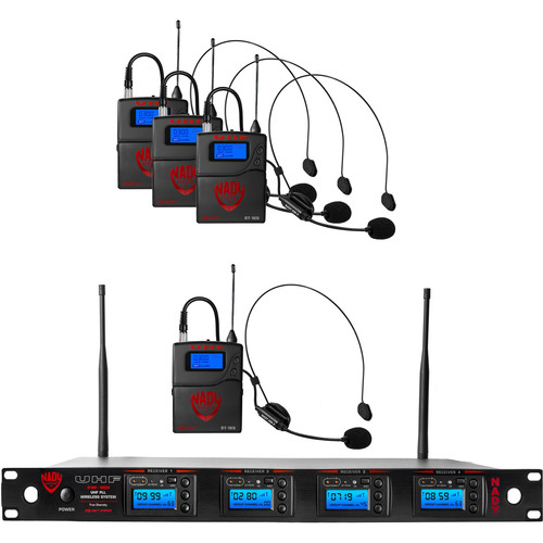 Nady 4W-1KU Quad UHF Wireless Receiver System with Four HM-3 Head-Worn Microphones