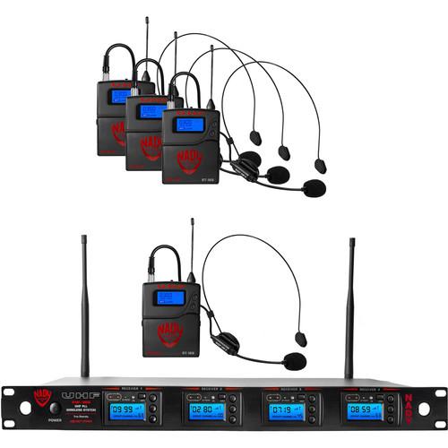 Nady 4W-1KU Quad UHF Wireless Receiver System with Four HM-3 Head-Worn Microphones