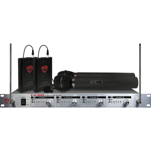 Nady U-41 QUAD 4-Channel UHF Wireless Microphone System (Channel 14, 16, 10, & 12)