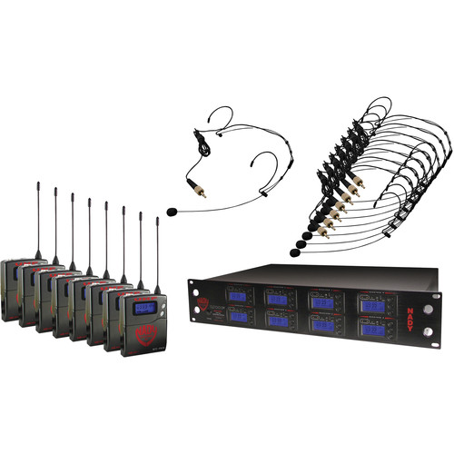 Nady 8W-1KU UHF Wireless Receiver System for Eight Simultaneous Transmitters with HM-10 Head-Worn Microphone (Black)