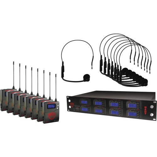 Nady 8W-1KU UHF Wireless Receiver System for Eight Simultaneous Transmitters with HM-1 Head-Worn Microphone