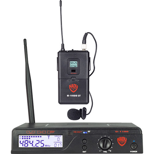 Nady U-1100 Single Receiver UHF Wireless System with 1 x LM-14U Unidirectional Lavalier Microphone