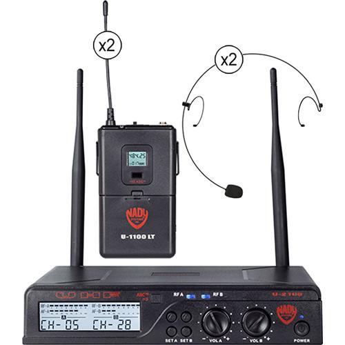 Nady U-2100/HM-10 UHF Omnidirectional Condenser Wireless System with 2 x HM-10 Headworn Microphone