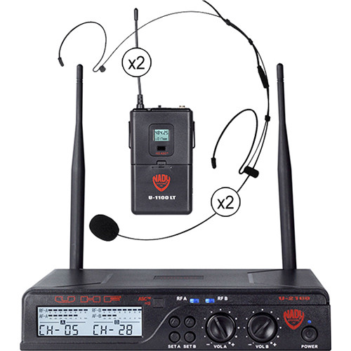 Nady U-2100 Unidirectional UHF Wireless System with 2 x HM-20U Headmic Condenser Microphones