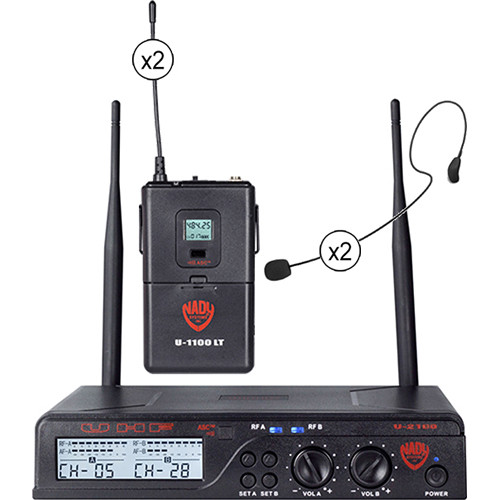 Nady U-2100 Over-the-Ear Omnidirectional UHF Wireless System with 2 x HM-35 Headmic Condenser Microphones