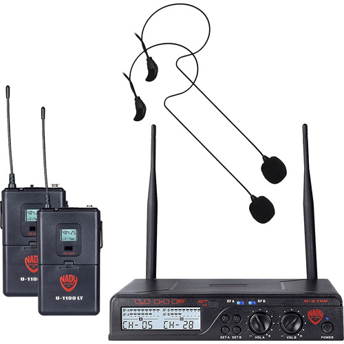 Nady U-2100 Over-the-Ear UHF Wireless Microphone System with 2 x HM-45U Unidirectional Condenser Headset Microphones