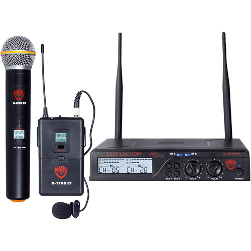 Nady Dual U-2100 HT-LT Dual Receiver UHF Handheld and Lavalier Wireless Microphone System