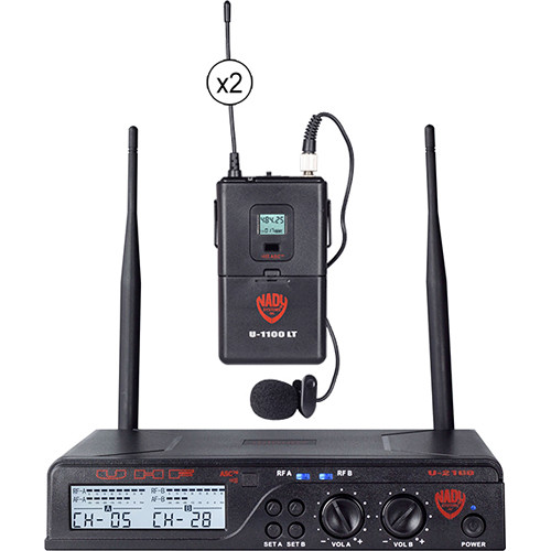 Nady U-2100 Dual Receiver UHF Wireless System with Two LM-14U Unidirectional Lavalier Microphones