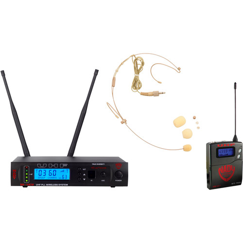 Nady W-1KU Single UHF Receiver Wireless System with an HM-10 Head-Worn Microphone (Beige)