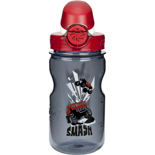 Nalgene On the Go Kids Smash Bottle (12 fl oz, Gray with Red Cap)