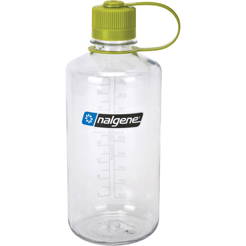 Nalgene Narrow Mouth Bottle (32 fl oz, Clear with Green Cap)