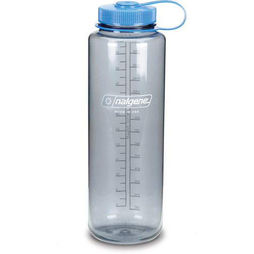 Nalgene Silo Wide Mouth Bottle (48 fl oz, Gray with Blue Cap)