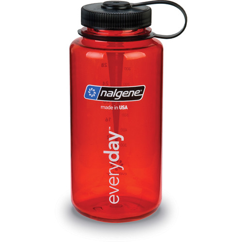 Nalgene Wide Mouth Bottle (32 fl oz, Red with Black Cap)