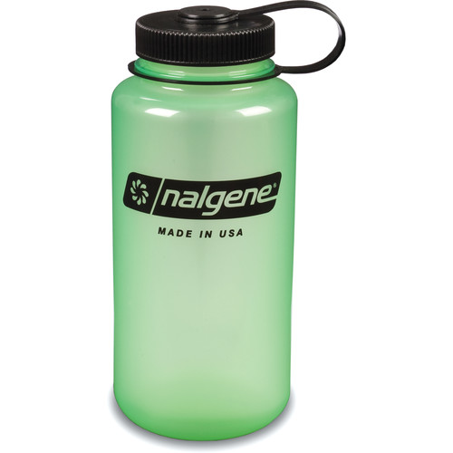 Nalgene Wide Mouth Bottle (32 fl oz, Glow Green with Black Cap)