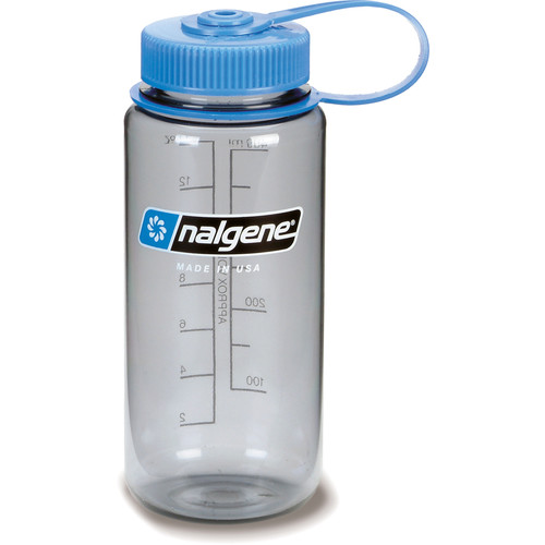 Nalgene Wide Mouth Bottle (16 fl oz, Gray with Blue Cap)