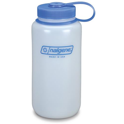 Nalgene Wide Mouth Bottle (32 fl oz, White with Blue Cap)