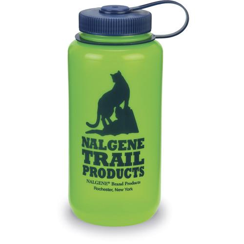 Nalgene Wide Mouth Bottle (32 fl oz, Green with Blue Cap & Logo)