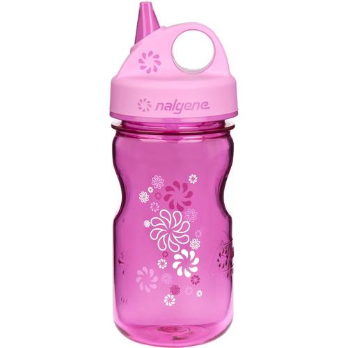 Nalgene Grip 'n Gulp Bottle (12 fl oz, Pink with Wheel Design)