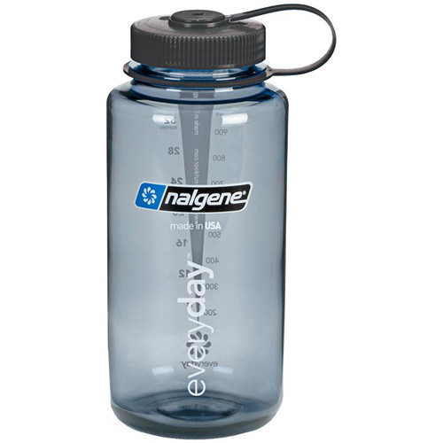 Nalgene 682009-0070 Wide Mouth Bottle (32 oz, Gray with Black Cap)