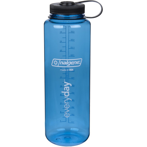 Nalgene Silo Wide Mouth Bottle (48 fl oz, Blue with Black Cap)