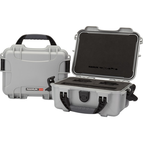 Nanuk 904 GoPro Case with Foam Insert for GoPro Series Cameras (Silver)