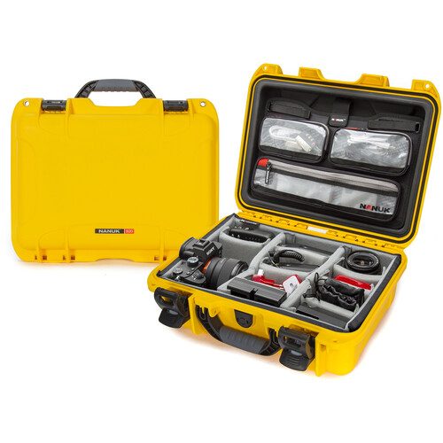 Nanuk 920 Hard Utility Case with Padded Divider Insert & Lid Organizer (Yellow)