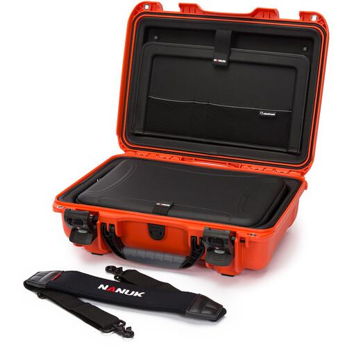 """Nanuk Hard Case with Sleeve & Shoulder Strap for 15"""" Laptop (Orange)"""