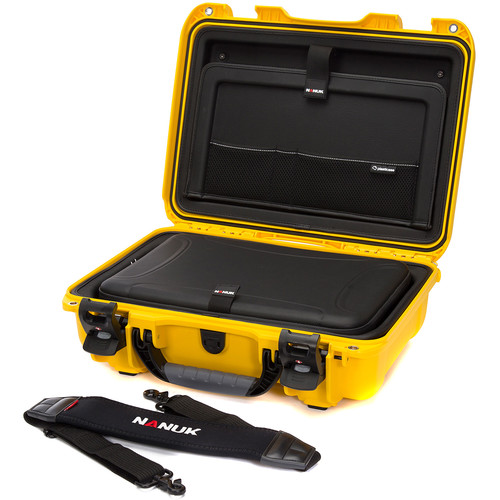 """Nanuk Hard Case with Sleeve & Shoulder Strap for 15"""" Laptop (Yellow)"""